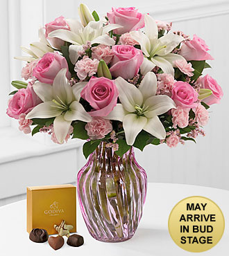 Sweet Emotions Mixed Flower Bouquet with Godiva® Chocolates - VASE INCLUDED