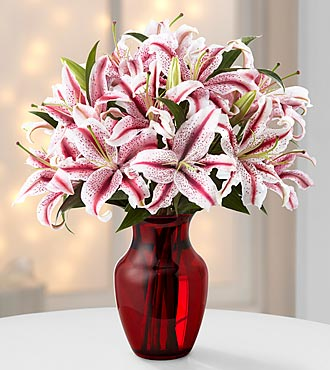 Holiday Spirit Candy Cane Lily Bouquet - 5 Stems - VASE INCLUDED