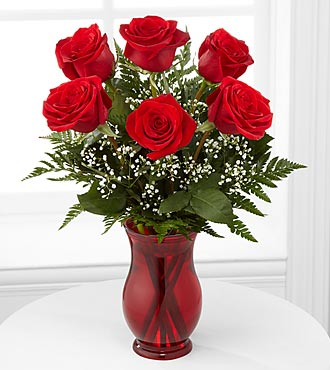 Classic Romance Valentine's Day Rose Bouquet - 6 Stems - VASE INCLUDED