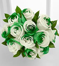 Lucky Today Rainbow Rose Bouquet - 12 Stems, No Vase