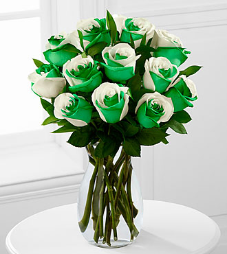 Lucky Today Rainbow Rose Bouquet - 12 Stems - VASE INCLUDED