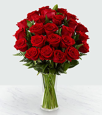 30 Long Stem Red Rose Bouquet - VASE INCLUDED
