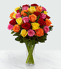 30 Long Stem Mixed Rose Bouquet - VASE INCLUDED