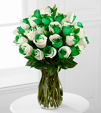 Lucky Today Rainbow Rose Bouquet - 24 Stems - VASE INCLUDED