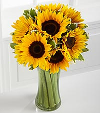 Let the Sunshine In Fall Sunflower Bouquet - 9 Stems - VASE INCLUDED