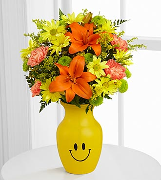 Keep Smiling Mixed Flower Bouquet - VASE INCLUDED