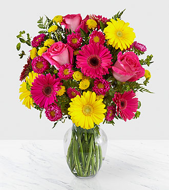 let me see you smile mixed flower bouquet  vase included, Beautiful flower