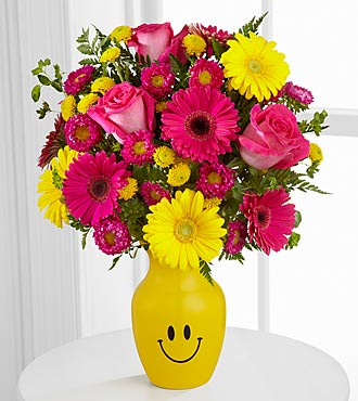 Let Me See You Smile Mixed Flower Bouquet Vase Included