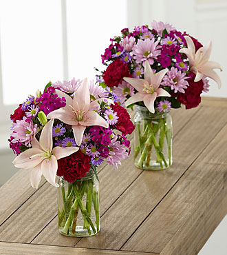 Pretty in Pink and Purple Petite Bouquet Duo - 2 Petite Jars Included