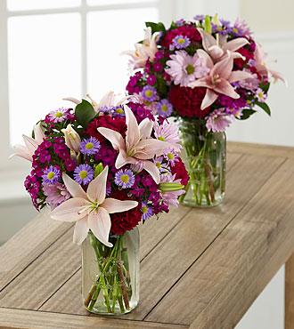 Pretty in Pink and Purple Grande Bouquet Duo - 2 Grande Jars Included