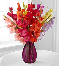 Look to the Rainbow Gladiolus Bouquet - 10 Stems with Pink Vase Included