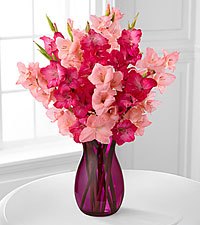 Pinking of You Gladiolus Bouquet - 10 Stems - PINK VASE INCLUDED