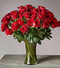 Fifty Long Stem Red Roses - GLASS VASE INCLUDED