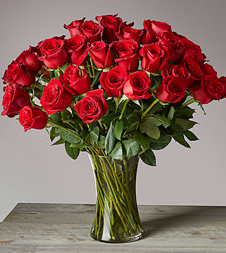 Fifty Long Stem Red Roses with Vase