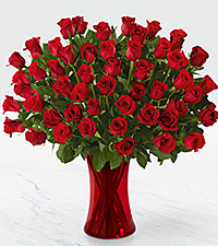 Fifty Red Roses of Romance - RED VASE INCLUDED