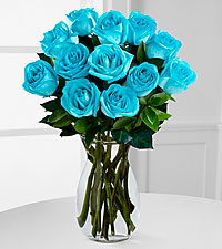 Island Blue Rainbow Rose Bouquet - 12 Stems - VASE INCLUDED