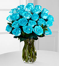 Island Blue Rainbow Rose Bouquet - 24 Stems - VASE INCLUDED