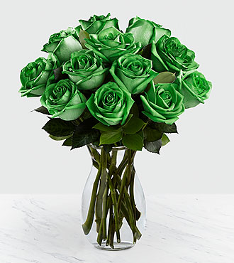 Emerald Allure Rainbow Roses - 12 Stems - VASE INCLUDED