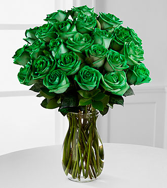 Emerald Allure Rainbow Roses -  24 Stems - VASE INCLUDED