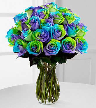 Pinwheel Party Rainbow Roses Vase Included