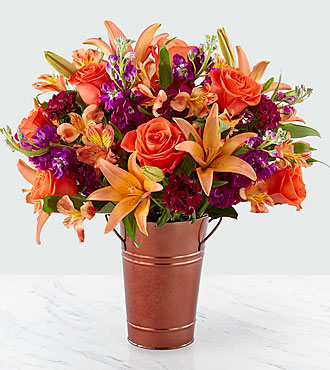 Finding Fall Harvest Bouquet - COPPER COLORED METAL BUCKET VASE INCLUDED