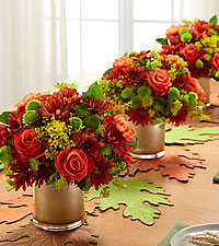 Glimmering Gratitude Centerpiece Trio -3 VASES & LEAF TABLE RUNNER INCLUDED