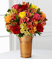 Gratitude Blooms Mixed Bouquet - COPPER COLOR METAL BUCKET VASE INCLUDED