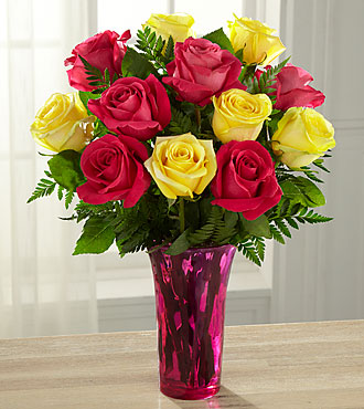 Pink Lemonade Rose Bouquet - 12 Stems - Vase Included