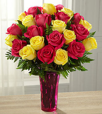 Pink Lemonade Rose Bouquet - 24 Stems - Vase Included