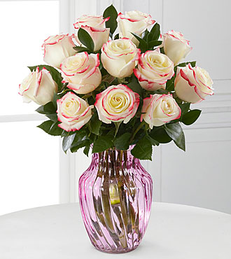 Pretty in Pink Rose Bouquet-12 Roses- PINK VASE INCLUDED