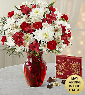 Joy to the World Holiday Bouquet with Godiva® Chocolates - RED VASE INCLUDED