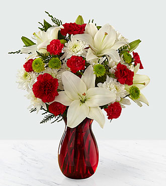 Open Your Heart Holiday Bouquet - VASE WITH RIBBON & PRESENT PICK INCLUDED