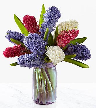 Simple Abundance Hyacinth Bouquet - 10 Stems - PURPLE VASE INCLUDED