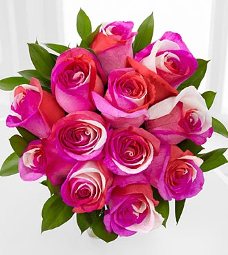 Radiant Pinks Fiesta Rose Bouquet - 12 Stems - No Vase