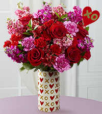 Heart of Hearts Valentine's Day Bouquet - Heart Pick & VASE INCLUDED