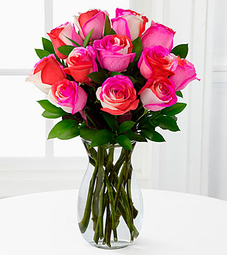 Radiant Pinks Fiesta Rose Bouquet - 12 Stems - VASE INCLUDED