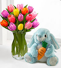 Spring Forward Tulip Bouquet with Plush Bunny - 15 Stems - VASE INCLUDED