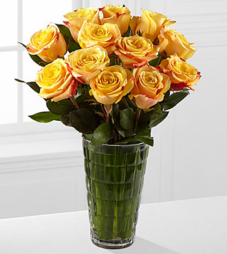 Elite™ Optimism Rose Bouquet - 12 Stems of 18-inch Roses - VASE INCLUDED
