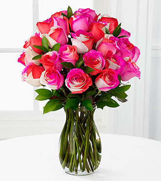 Radiant Pinks Fiesta Rose Bouquet - 24 Stems - VASE INCLUDED