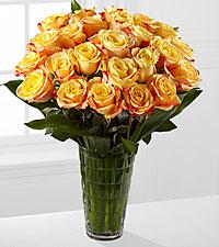 Elite™ Optimism Rose Bouquet - 24 Stems of 18-inch Roses - VASE INCLUDED