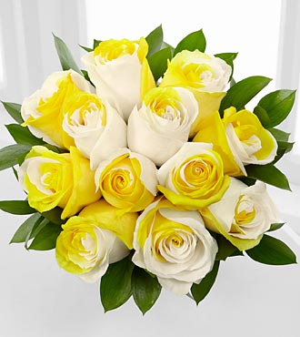 Rising Sun Fiesta Rose Bouquet - 12 Stems - No Vase