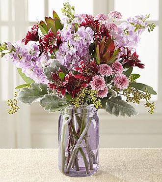 Harvest Magic Bouquet -PURPLE MASON JAR VASE INCLUDED