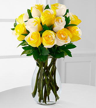 Rising Sun Fiesta Rose Bouquet - 12 Stems - VASE INCLUDED
