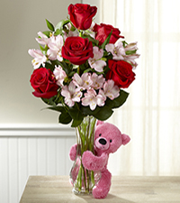Hug Me Tender Valentine's Day Bouquet - VASE & BEAR INCLUDED
