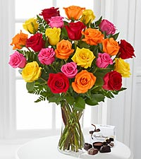 Beautiful Love Mixed Rose Bouquet with FREE Vase & FREE Chocolates