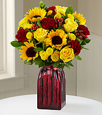 Harvest Celebrations Mixed Fall Flower Bouquet - RED VASE INCLUDED