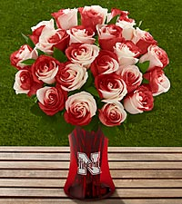 The FTD® University of Nebraska® Huskers® Rose Bouquet - VASE INCLUDED
