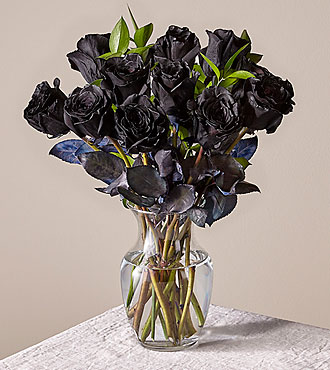 12 Black Long Stem Roses with Glass Vase