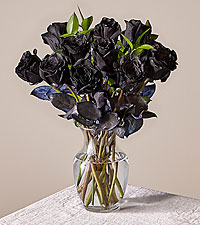 12 Black Long Stem Roses