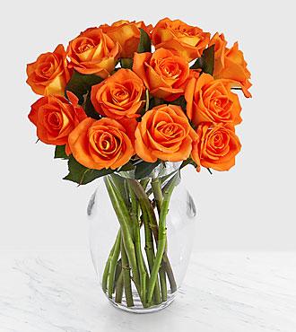 12 Orange Roses with Glass Vase